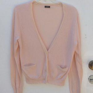 J Crew green label sweater cardigan blush pink